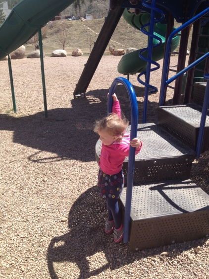 Practicing her bat skills
